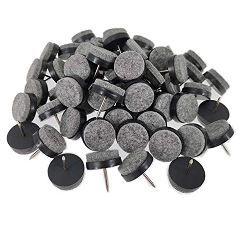 """40pcs Furniture Felt Pad Round Heavy Duty Nail-on Slider Glide Pad Floor Protector for Wooden Furniture Chair Tables Leg Feet(Dia 0.8""""/20mm,Black)"""
