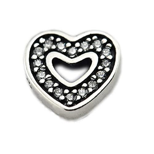Pandora 925 Sterling Silverheart Petite Charms Wit Clear Floating Locket Pendant Necklace Women diy Love Jewelry