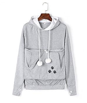 VincentDeep Unisex Cat Ear Big Kangaroo Pouch Hoodie Long Sleeve Pet Cat Dog Holder Carrier Sweatshirt  Grey M
