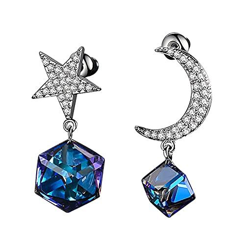 AZPINGPAN Combinación de Estrella y Luna Pendientes Colgantes de Cristal Azul, Tendencia de Moda Corte Tridimensional Diamante Cuadrado Dama Exquisita Pendientes Regalo de joyería, Plata de Ley 925