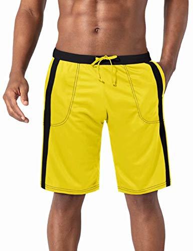 BIYLACLESEN Mens Hiking Shorts Mens Running Shorts Gym Shorts for Men Mesh Shorts for Men Quick Dry Shorts Men Tennis Shorts Yellow