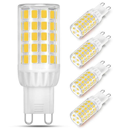 Bombilla LED G9 de 5W Equivalente a 40W 50W 60W Lampara Halógena, Luz Blanca Neutra 4000K, Bombilla de Casquillo G9, Sin Parpadeo, No Regulable, Ángulo de Luz de 360°, Pack de 4 Unidades