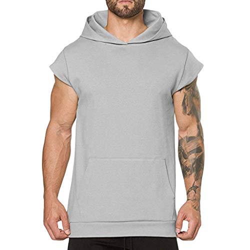 Cebbay T-Shirt Homme Gilet - Été - à Capuche - Poche - Manche Courte Polo Sweatshirt Chemise Hauts Tops Tee 2019(Gris,2XL)