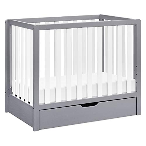 Carter's by DaVinci Colby 4-in-1 Convertible Mini Crib with Trundle in Grey and White, Greenguard Gold Certified