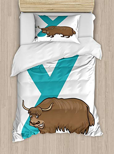 ABAKUHAUS jak Dekbedovertrekset, Angry Wild Tibetaanse Bull Hoorns, Decoratieve 2-delige Bedset met 1 siersloop, 130 cm x 200 cm, Dark Seafoam Cocoa