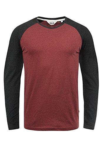 !Solid Bastien Herren Longsleeve Langarmshirt Shirt Mit Rundhalskragen, Größe:M, Farbe:Wine Red Melange (8985)