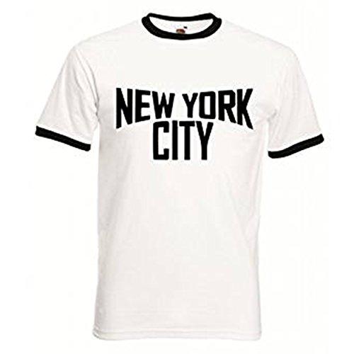 Reality Glitch Men's New York City Ringer T-Shirt (M, White/Black)