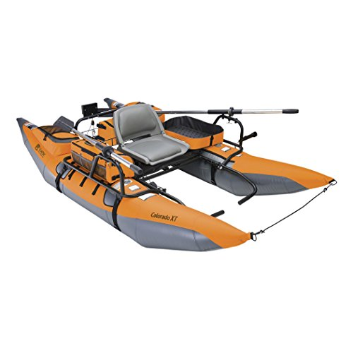 Cheap Classic Accessories Colorado XT Inflatable Fishing Pontoon Boat With Transport Wheel & Motor M...