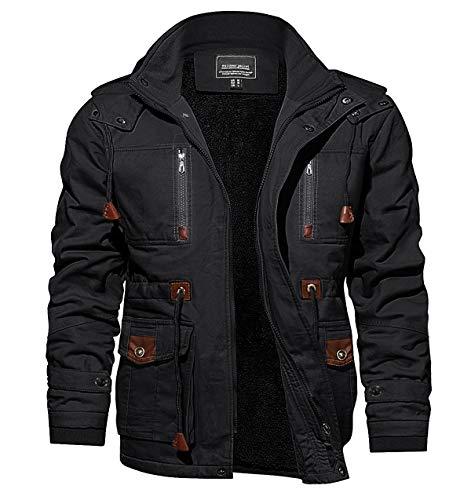 CRYSULLY Men's Winter Cotton Military Stand Collar Windbreaker Field Jacket Coat Black