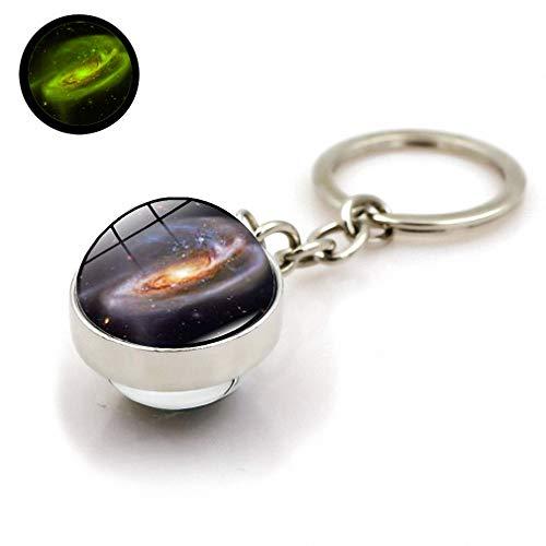 Kytrun Glow in The Dark Moon Solar System Planet Keyrings Luminous Car Key Double Side Glass Ball Keychain Charms Xswx2281-13