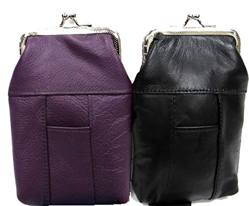 Lady's Soft Leather Cigarette Bag Slim Flat w/Snap Closure Sold by 2PC set 1/PURPLE + 1/BLACK for 100's