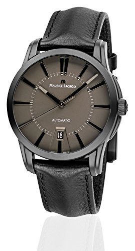 Maurice Lacroix Reloj de pulsera para hombre Pontos PVD, analógico, automático, con correa de piel negra PT6148-PVB01-330-1