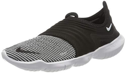 Nike Women's WMNS Free Rn Flyknit 3.0 Trail Running Shoes, Multicolour (Black/White/Volt 5), 3.5 UK