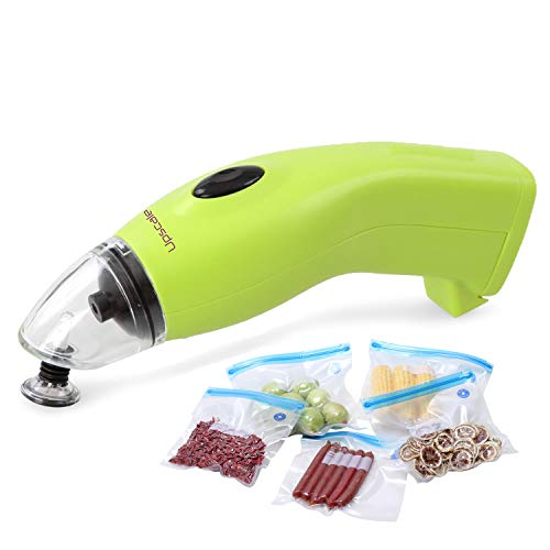 Upscale Portable Vacuum Sealer Airtight Packing Machine: mini, handheld with 5 plastic reusable bags(26*28cm) and DC adapter- compatible with only vacuum bags with nozzle,works with only vacuum bags as shown in images.