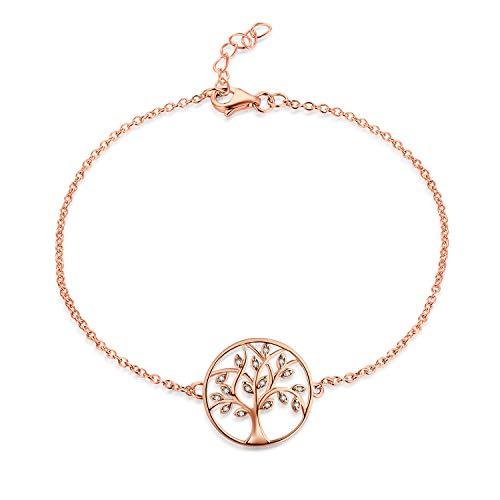JO WISDOM Pulsera árbol de la vida plata 925 mujer con circonita cúbica AAA (Piedra de nacimiento de mayo Color esmeralda) (color oro rosa)