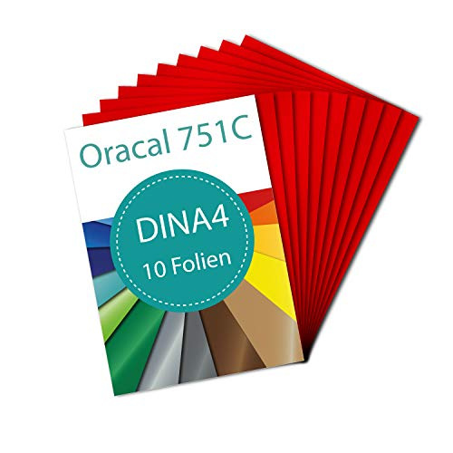 PrintAttack P083 | Plotter Folien 10 x DINA4 Oracal 751 C High Performance Perfekt zum Plotten | Bastelfolie | Vinyl Folie | Klebefolien | Selbstklebend je 21 cm x 29,7 cm (20,47 €/m²) (Blutrot)