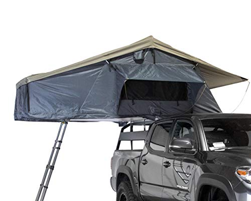 Overland Vehicle Systems Nomadic 3 Extended Rooftop Tent RTT - Dark Gray Base with Green Rain Fly &...