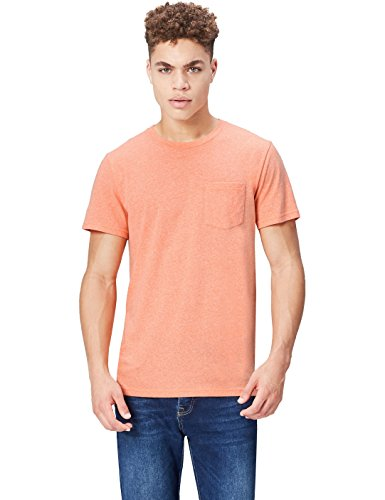 Marca Amazon - find. Camiseta Jaspeada de Cuello Redondo para Hombre, Naranja (Vermillion Orange), L, Label: L