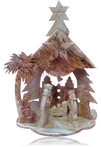 Zuluf Olivewood Olive Wood Bethlehem Nativity Scene Set Holyland NAT012 Certificate Holy Land