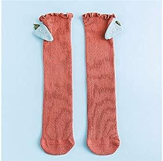 Lovely Socks Children Cotton Socks Kids Spring and Autumn Carrot Dolls Anti-Slip Mid Tube Socks (Lake Blue) Newborn Sock (Color : Orange, Size : S)