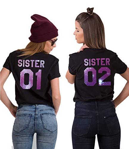 Sister T-Shirt für 2 Mädchen Best Friends T-Shirt Beste Freunde T-Shirt BFF Shirt Damen Best Friends Geschenk Oberteil Kurzarm Sommer Baumwolle Schwarz Weiß 2 Stücke