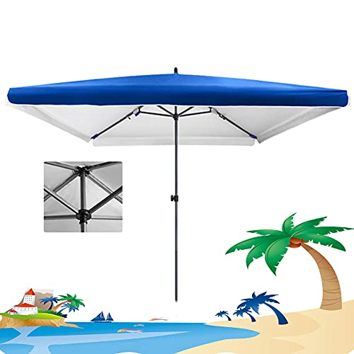 ACXZ Sombrilla Cuadrada de 2 m para Mesa de Patio, sombrilla de jardín, sombrilla de Mercado al Aire Libre, Dosel Impermeable / 4 - Altura Ajustable, sin Base (Azul, Rojo)