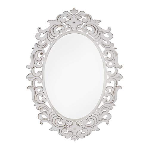habeig Deko - Spiegel Forte Weiss Wandspiegel Antikdesign Barock Garderobenspiegel Landhaus 70cm hoch (Oval #414)