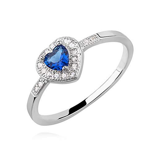 Crystals&Stones Niños Mujer plata de ley 925 plata corazón anillada azul