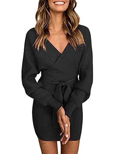 Socluer Etuikleider mit Gürtel für Damen V Ausschnitt Sexy Minikleid Elegant Freizeit Kleider Pulloverkleid