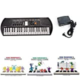 Casio SA77 44 Keys 100 Tones Keyboard bundle with Casio Power Supply, Three Part John Thompson's Easiest Piano Course and ABC Keyboard Stickers