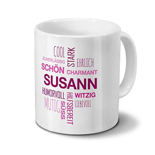 printplanet Tasse mit Namen Susann Positive Eigenschaften Tagcloud - Pink - Namenstasse, Kaffeebecher, Mug, Becher, Kaffeetasse