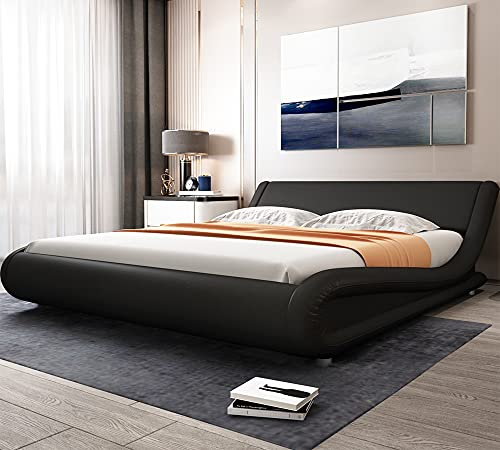 Allewie Queen Size Bed Frame with Curved Adjustable Headboard, Faux Leather Upholstered Platform Bed, Strong Wooden Slats Support, 10'' Mattress Recommended, Black
