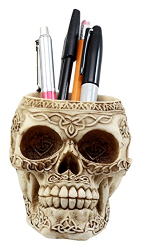 Ebros Gift Day Of The Dead Celtic Tribal Tattoo Skull Pen Holder Figurine 4.5'L Office Desktop Ossuary Skull Head Stationery Holder