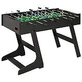vidaXL Table de Football Pliante Table de Baby-Foot Chambre Salle de Jeux Robuste Durable Maison Intérieur Enfants Adulte 121x61x80 cm Noir