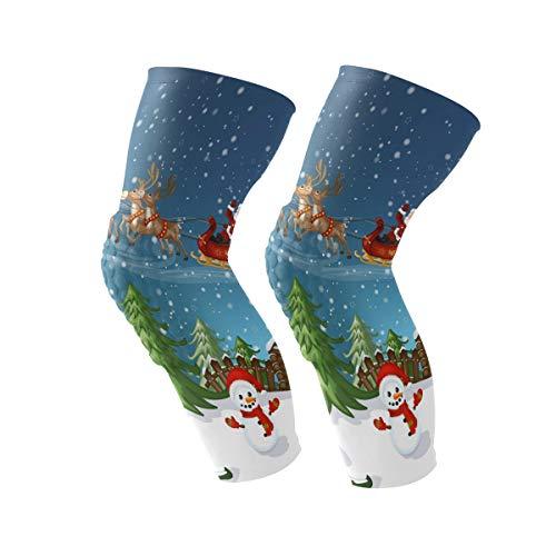 COOSUN Kerstman in slee met rendier kniebrace, kniecompressie mouwen ondersteuning voor hardlopen, artritis, meniscus scheuren, sport, gewrichtspijn verlichting en letsel herstel