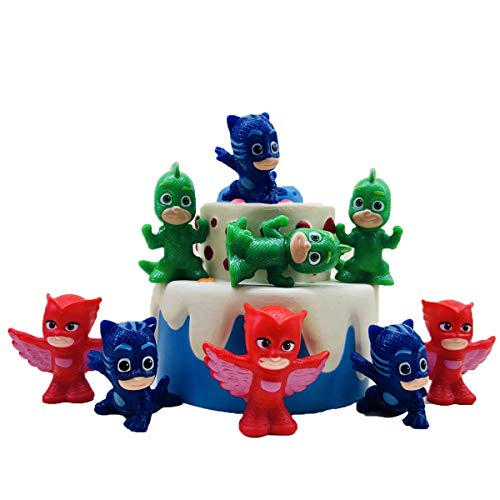 Cake Toppers Picks for Kids Birthday Party, Baby Shower Cake Decorations (PJ Mask 9 pcs)