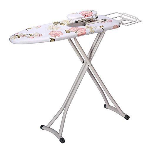 Tabla de planchar de tamaño familiar, tabla de planchar de ajuste de altura con mini tabla de manga extra, 2 vapores y accesorios (tamaño: 30 x 112; color: rosa)