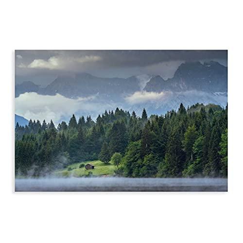 Póster de lienzo de montañas, solo en los Alpes, decoración de dormitorio, deportes, paisaje, oficina, habitación, decoración, regalo, estilo Unframe-style124 x 36 pulgadas (60 x 90 cm)