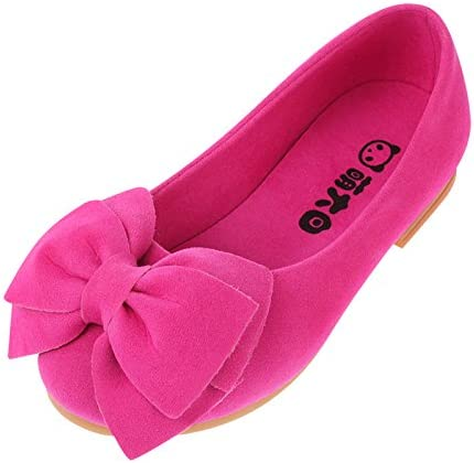 Vokamara Faux Suede Bow Round Toe Ballet Flats Slip On Shoes Little Kid//Big Kid