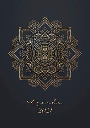 Agenda 2021 : Mandala nero: Agenda settimanale 2021 | Namaste Terapia artistica | Piccolo formato A5 | Da notare tutti gli appuntamenti da gennaio a dicembre 2021 | 124 pagine | Italiana