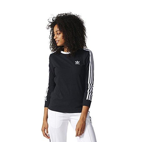 adidas Originals Camiseta de manga larga de 3 rayas para mujer Originals - negro - X-Small