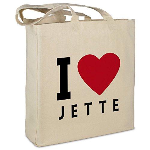Stofftasche mit Namen Jette - Motiv I Love - Farbe beige - Stoffbeutel, Jutebeutel, Einkaufstasche, Beutel