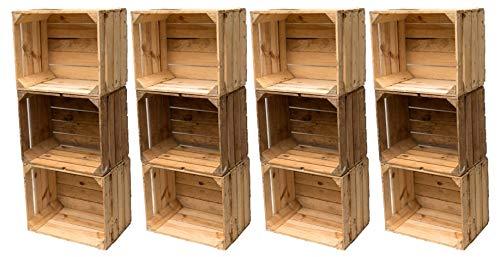 Gebrauchte Holzkisten im Set Angebot: Originale Vintage Obstkisten zum Möbelbau od. als Dekoration, sehr stabile Apfelkisten, geprüft und gereinigt 50x40x30 cm (Set aus 12 Kisten)