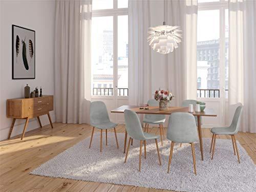 Zons–Juego de 2silla Stockholm silla terciopelo escandinava 45* 55* 85cm gris