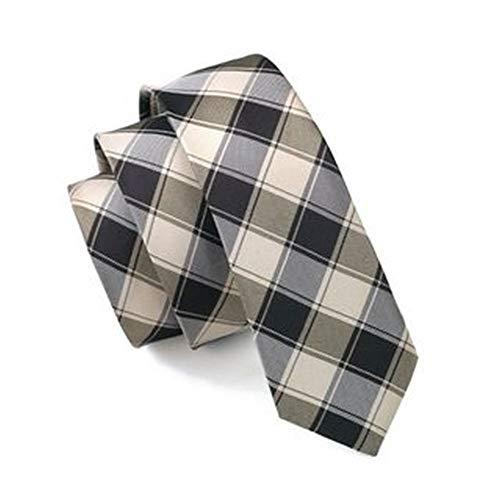 Jason & Vogue slim line Designer Cravate fin Marron dans noir à carreaux