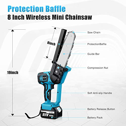 Seesii Mini Electric Cordless Chainsaw, 8 Inch Cordless Battery Powered Chainsaws Handheld Chain Saw Pruning Shears for Tree Branch Wood Cutting (2X Battery Included)