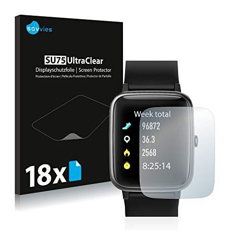 18x Savvies SU75 UltraClear Displayschutz Schutzfolie für Letsfit Fitness Tracker ID205-L (ultraklar, einfach anzubringen)