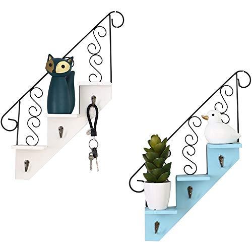 DC Wesley Hauptpersönlichkeit-Treppen-Wand-Regal-Schlafzimmer-Raum-Wand-Dekoration/Tee-Geschäft-Wand-hängende Dekoration (Color : Blue)