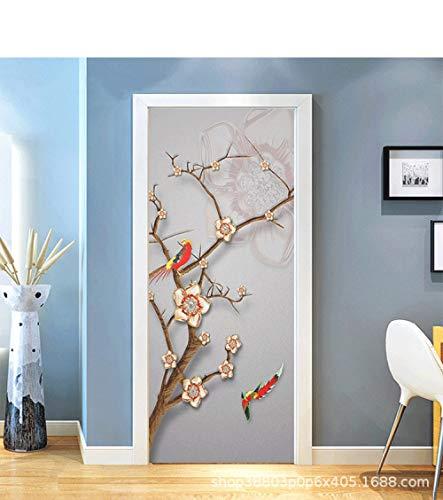 TFOOD Raamfolie, esthetiek met motief bloemenboom vogel privacy statische cling matte stickers ondoorzichtig glasdecor zelfklevende UV-bescherming voor keuken badkamer woonkamer