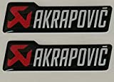 2 Adhésifs Stickers Akrapovic Pot D'Échappement Moto Voiture Blanc 50 mm 3D Résine Cube